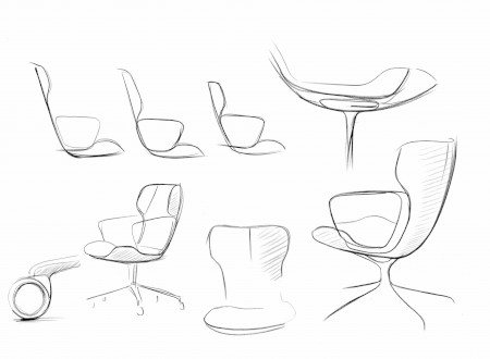 "4 – Sketch of the Conference Chair ""Intra"" of Wilkhahn, Design by Phoenix Design"